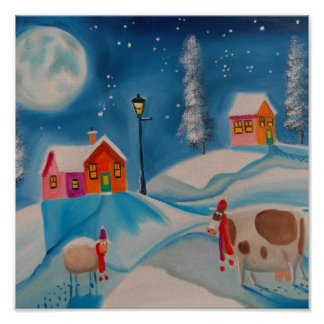 cow sheep winter snow scene folk art poster