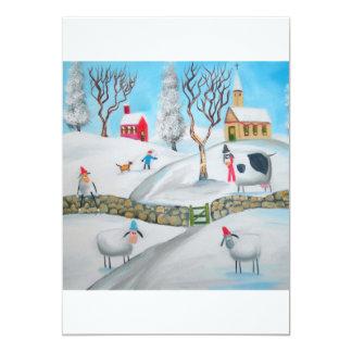 cow sheep winter snow scene naive folk art custom invitation