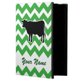 Cow Silhouette with Green Chevron Pattern