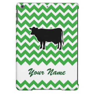 Cow Silhouette with Green Chevron Pattern iPad Air Covers
