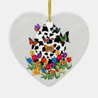 Cow Skin Easter Egg Ceramic Heart Decoration