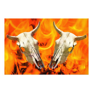 Cow skull and fire photographic print