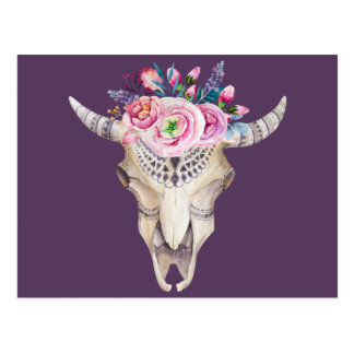 Cow Skull Floral Wreath Postcard