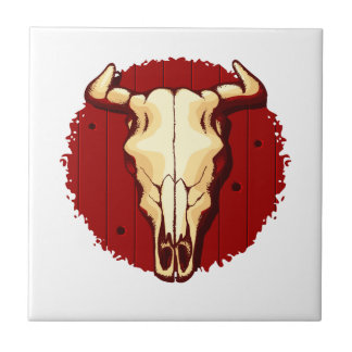 Cow Skull Small Square Tile