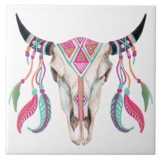 Cow Skull with Dream Catchers Ceramic Tile