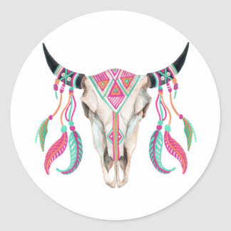 Cow Skull with Dream Catchers Classic Round Sticker