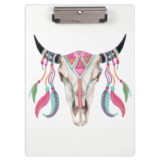 Cow Skull with Dream Catchers Clipboard
