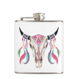 Cow Skull with Dream Catchers Hip Flask