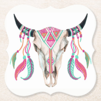 Cow Skull with Dream Catchers Paper Coaster