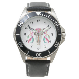 Cow Skull with Dream Catchers Watch
