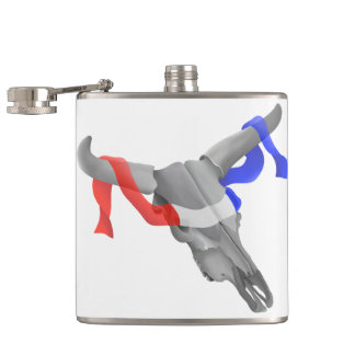 Cow Skull With Patriotic Ribbon Flasks