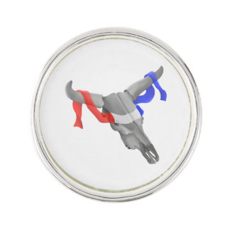 Cow Skull With Patriotic Ribbon Lapel Pin