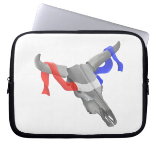 Cow Skull With Patriotic Ribbon Laptop Sleeve