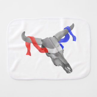 Cow Skull With Red White Blue Ribbon Burp Cloths