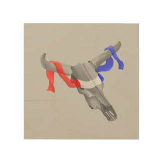 Cow Skull With Red White Blue Ribbon Wood Canvas