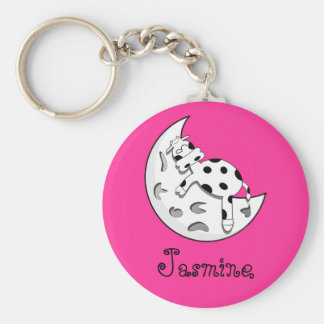 Cow Sleeping On The Moon Personalized Name Gift Key Ring