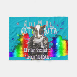 Cow Space Mission Specialist Animal Astronaut Fleece Blanket