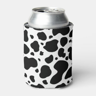 Cow Spots Pattern Black and White Animal Print Can Cooler