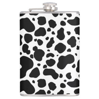 Cow Spots Pattern Black and White Animal Print Hip Flask