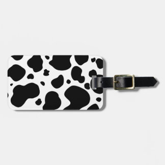 Cow Spots Pattern Black and White Animal Print Luggage Tag