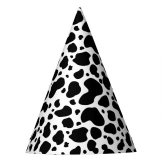Cow Spots Pattern Black and White Animal Print Party Hat