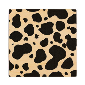 Cow Spots Pattern Black and White Animal Print Wood Coaster