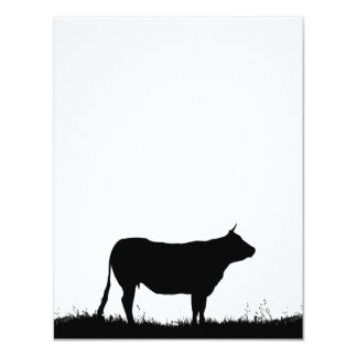 Cow standing resolutely on a dike, with copy space card