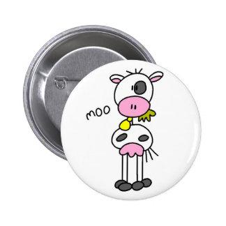 Cow Stick Figure Button