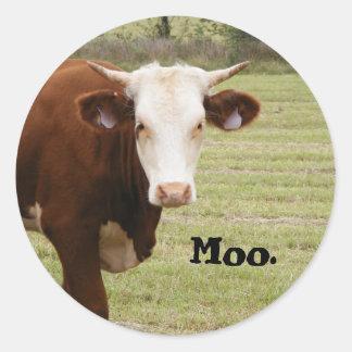 """Cow sticker: """"Moo."""" Round Sticker"""
