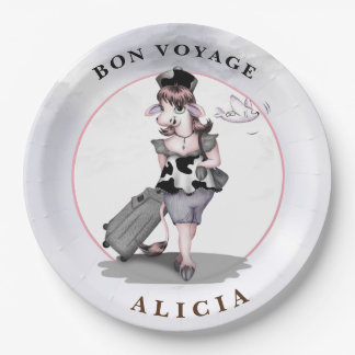 """COW TRAVEL CARTOON  Paper Plates 9"""" 9 Inch Paper Plate"""