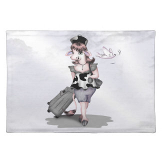 COW TRAVEL CARTOON  PLACEMAT CLOTH