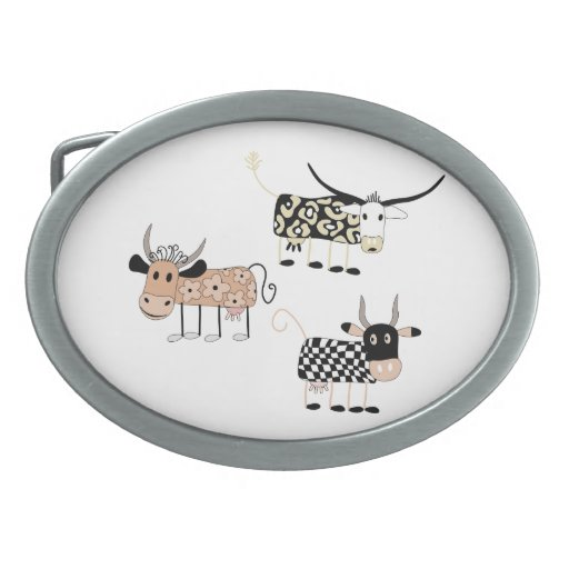 Cow Trio Oval Belt Buckles