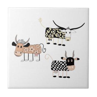 Cow Trio Small Square Tile