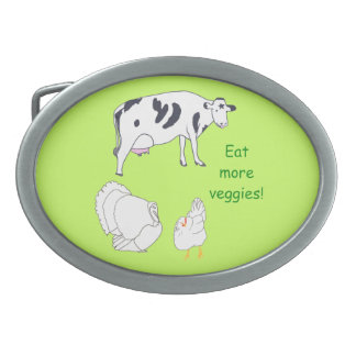 Cow Turkey Chicken Eat more Veggies Belt Buckles