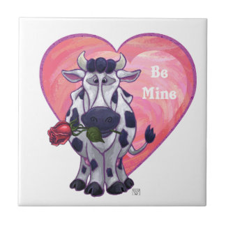 Cow Valentine's Day Small Square Tile