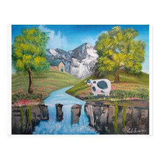 Cow waterfall folk art oil painting by G Bruce Postcard