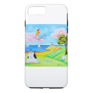 Cow with a kite folk art painting iPhone 8 plus/7 plus case