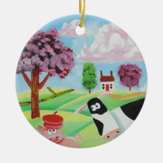 cow with a pig folk art painting round ceramic decoration