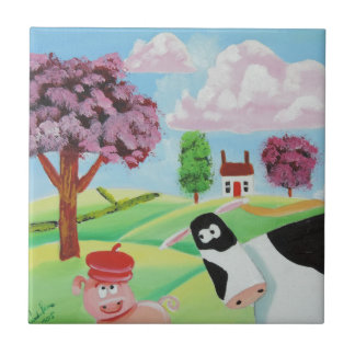 cow with a pig folk art painting small square tile