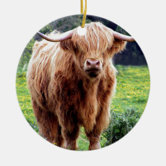 Cow with big horns beautiful nature scenery christmas tree ornaments