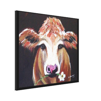 Cow with Daisy Canvas Print