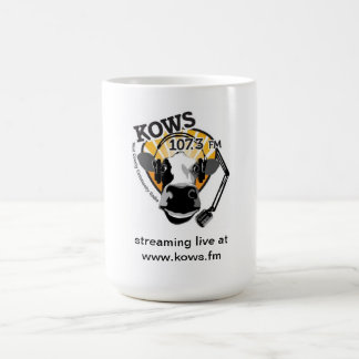 cow with microphone, KOWS Radio Coffee Mug