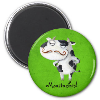 Cow with Mustaches 6 Cm Round Magnet