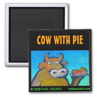 COW WITH PIE $3.00 SQUARE MAGNET