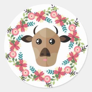 Cow&Wreath Classic Round Sticker