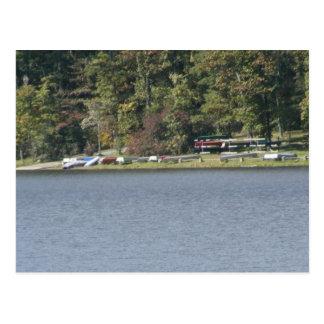 cowans gap state park pennsylvania lake tree canoe postcard