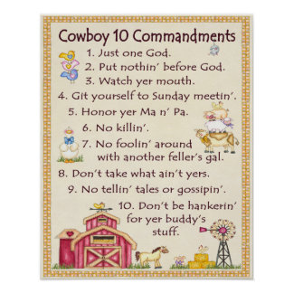 Cowboy 10 Commandments - Farm Fun (wide) Poster