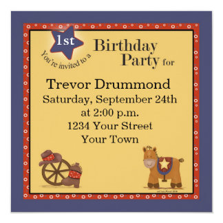 Cowboy 1st Birthday Invitation