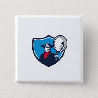 Cowboy Aiming Satellite Dish Crest Retro 15 Cm Square Badge