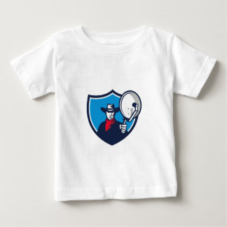 Cowboy Aiming Satellite Dish Crest Retro Baby T-Shirt